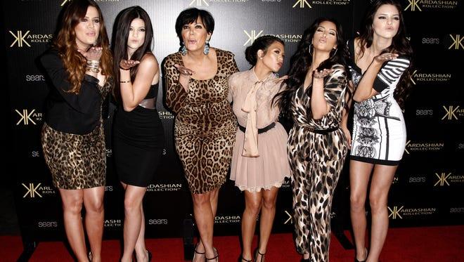 In this Aug. 17, 2011, file photo, from left, Khloe Kardashian, Kylie Jenner, Kris Jenner, Kourtney Kardashian, Kim Kardashian and Kendall Jenner arrive at the Kardashian Kollection launch party in Los Angeles.