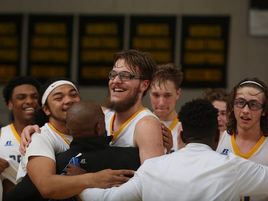 Mount Shasta players celebrate their Division V title victory Friday at Butte College.
