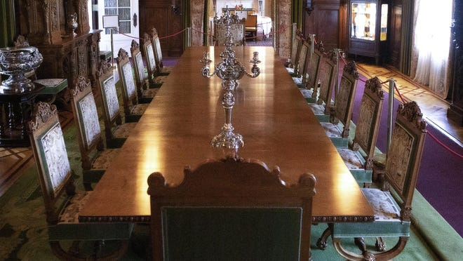 The original exotic satinwood dining room table and chairs used by Henry and Mary Lily Kenan Flagler are on exhibit at The Flagler Museum after close to a 100-year absence. The 5-foot wide expandable dining table has four leaves with state-of-the-art telescoping mechanisms of that era, allowing it to go from 12 feet to 20 feet in length.