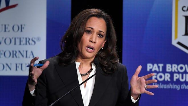 California Attorney General Kamala Harris speaks during a debate against Congresswoman Loretta Sanchez on Oct. 5 in Los Angeles.