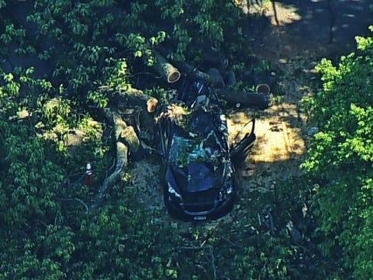 An 80-year-old man was crushed as a tree fell across North Broadway in Upper Nyack near the elementary school and the Summit School on Thursday, May 18, 2017.