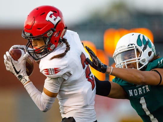 D.M. East's Stephon Field (2) is considered one of the state's best wide receivers. The senior hauled in 36 catches for 747 yards and seven touchdowns in 2017.