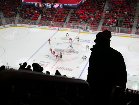 The seats in the top rows at Little Caesars Arena range