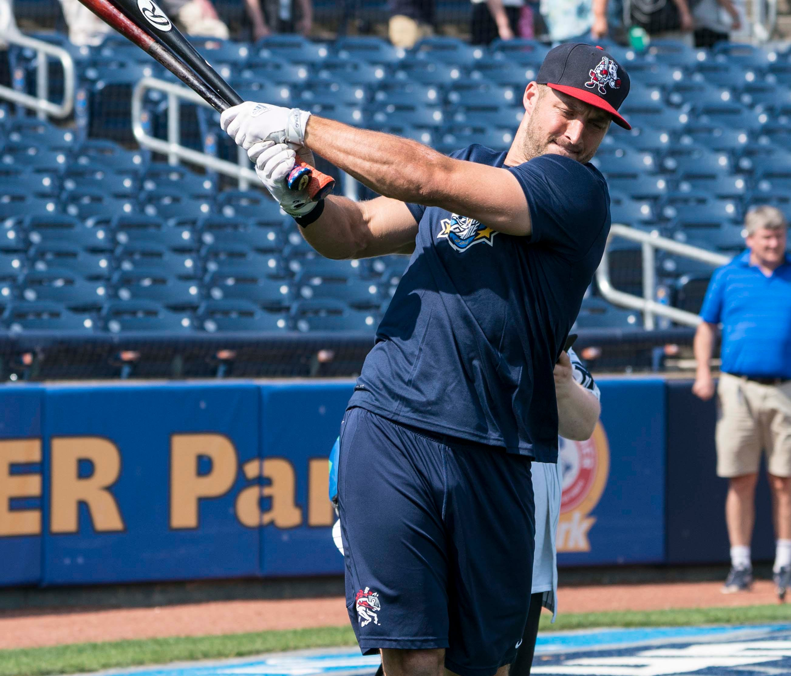 Jul 11, 2018; Trenton, NJ, USA; Binghamton Rumble Ponies outfielder Tim Tebow (15) warms up for batting practice at ARM & HAMMER Park. Mandatory Credit: Gregory J. Fisher-USA TODAY Sports ORG XMIT: USATSI-384347 ORIG FILE ID:  20180711_szo_fb5_01
