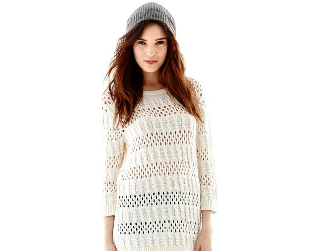 Keep it light but cozy when the chill hits. Light-weight pointelle drop-shoulder sweater by Joe Fresh, $20.99 at JC Penney. (Gannett/File)
