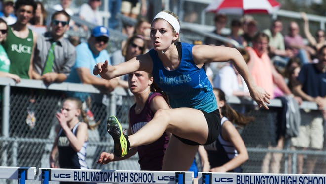 Lake Region's Emily Close competes in the 100 meter hurdles race during the Burlington Invitational on Saturday afternoon.