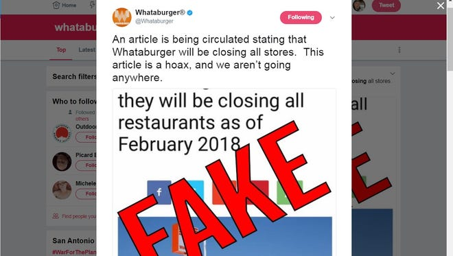 A screenshot of a social media post by Whataburger about a false article being circulated about store closures on June 28, 2017.