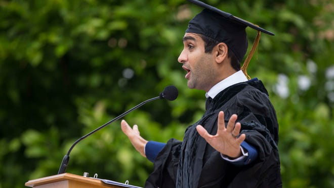 """Comedian and writer Kumail Nanjiani gives the commencement speech at Grinnell College Monday, May 22, 2017, where he graduated from in 2001. Described as """"the future of funny"""" by GQ magazine, the Pakistan native earned a bachelor's degree in computer science and philosophy before moving to Chicago then New York City.He became a go-to guest on popular TV shows such as """"The Colbert Report,"""" """"Veep"""" and """"Portlandia."""" Since 2014, he's been playing the role of Dinesh, a witty but hapless software engineer, on the HBO hit """"Silicon Valley."""""""