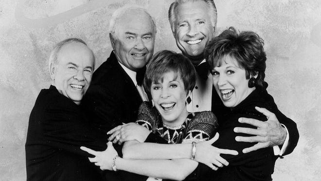Carol Burnett, center, is seen with Tim Conway, Harvey Korman, Lyle Waggoner and Vicki Lawrence in a 1992 CBS publicity photo.