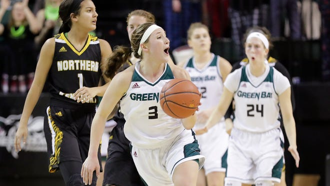 Green Bay Phoenix guard Frankie Wurtz (3) reacts after being whistled for a foul on an attempted steal against the Northern Kentucky Norse in a Horizon League women's basketball game at the Kress Center on Thursday, February 1, 2018 in Green Bay, Wis.