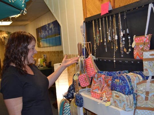 Sandra Bowen talks about some of the other products available at Kaleki, including purses and jewelry.