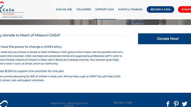 The donation page for Heart of Missouri CASA (Court Appointed Special Advocates) is pictured in this screenshot.