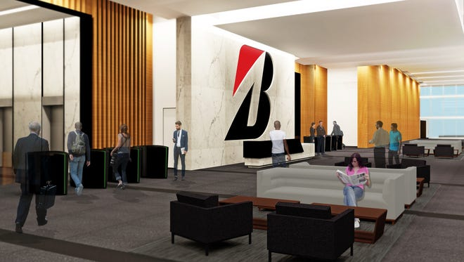 A rendering showing the lobby planned at Bridgestone Americas' new headquarters.