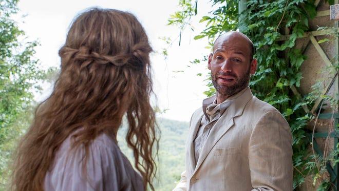 "Nina (Saoirse Ronan) and Boris (Corey Stoll) talk in ""The Seagull."""