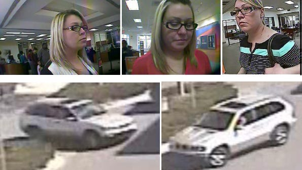 Deputies are searching for a woman suspected of opening bank accounts with counterfeit documents and then depositing fraudulent checks.