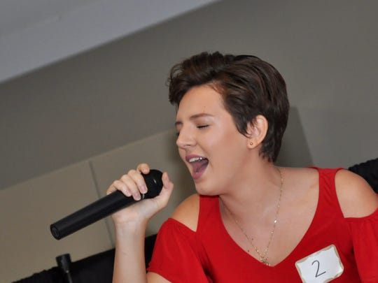 """Ryleigh Plank, 16, belts out """"Don't You Worry About a Thing"""" during the Miromar Has Talent Finals June 24, capturing first place in the 14 to 20 age group."""