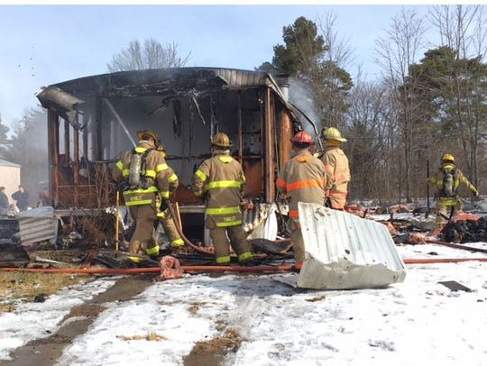 Fire destroyed a mobile home Tuesday on Winners Circle