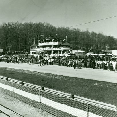"Cameras are ready during the filming of ""Winning"" at Road American in May 1968. This image shows the large number of extras, some paid, many not."