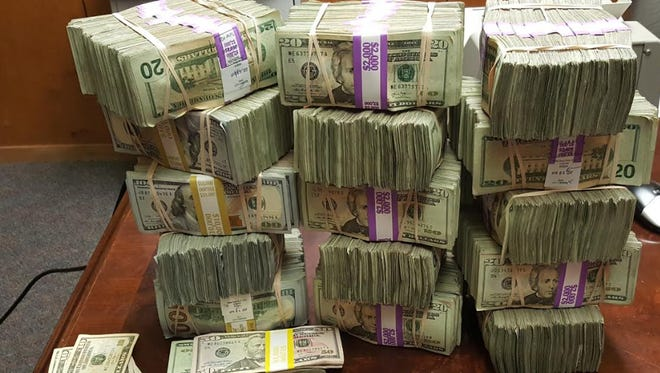 The South Texas Specialized Crimes and Narcotics Task Force seized more than $530,000 in cash during a traffic stop in Kingsville on Tuesday, April 4, 2017.