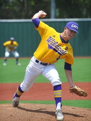 Godley Wildcats pitcher Bobby Goodloe throws against