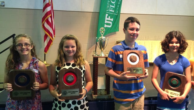 Sixth-grade winners in the 4-H Tropicana Public Speaking Contest include, from left, Julianna Cannon, first, Brynn Burgess, second, Christian Sutton, third, and Madalyn Cozart, honorable mention.