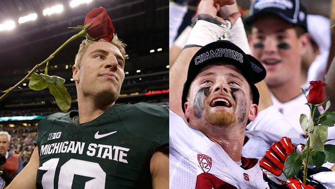 Michigan State's Connor Cook, left, and Stanford's Jarek Lancaster celebrate wins that send their teams to the Rose Bowl.