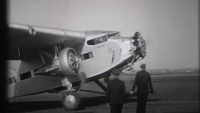 A Ford Trimotor photographed arriving at Soo Skyways in 1936.