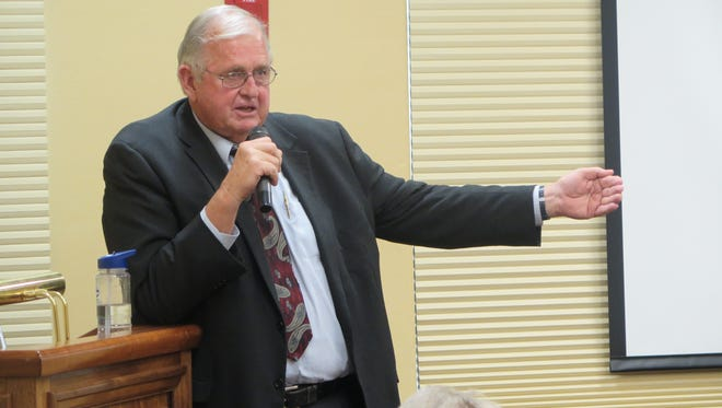 Ron Thompson speaks about Washington County's water future and the proposed Lake Powell Pipeline at a forum in the SunRiver area of St. George on Monday, Sept. 21, 2015.