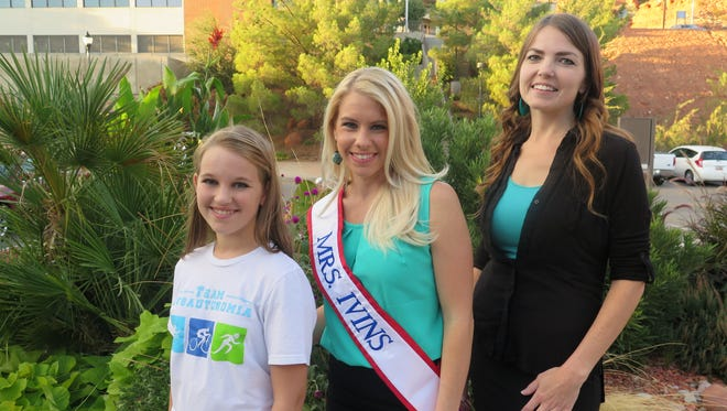 """Alyna Eaves, left, Brittany Hollinshead and Cyndee Jacobson pose Thursday after St. George city officials proclaimed October """"Dysautonomia Awareness Month"""" to raise more awareness about the little-known condition."""