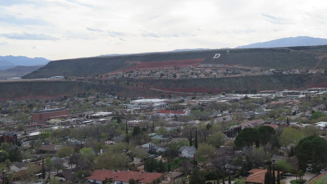 Downtown St. George is shown from Pioneer Park on Monday, March 28, 2016.