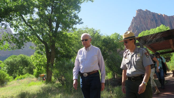 U.S. Sen. Orrin Hatch chats with Zion National Park Superintendent Jeff Bradybaugh during a visit to the park on Wednesday.