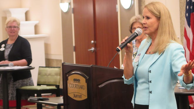 Congressional candidate Charlene Albarran speaks during a forum Monday hosted by the St. George branch of the American Association of American Women.