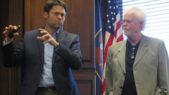 Justin and Merrill Osmond speak Thursday during a meeting with the St. George City Council. The father-and-son duo, members of one of Utah's favorite famous families, are organizing a July 24 Pioneer Day production at Dixie State University this year.