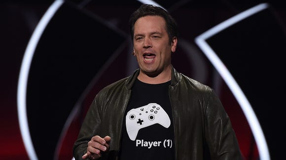 Xbox chief Phil Spencer speaks on stage at the Microsoft