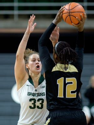 Jenna Allen scored 18 points to lead Michigan State past Mississippi Valley State, 83-64, Friday night in the New Orleans Shootout.