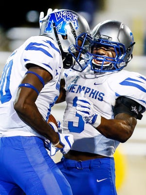 Memphis receiver Damonte Coxie (left) celebrates his touchdown catch with teammate Anthony Miller (right) against Tulsa on Nov. 3.