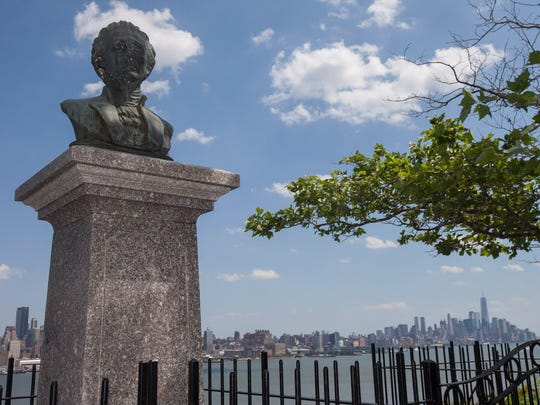 """The memorial of the famous """"dueling grounds"""" in Weehawken. Alexander Hamilton's bust is on a pedestal overlooking Manhattan."""