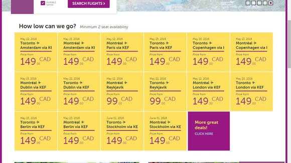 An Oct. 1, 2015, screenshot of WOW Air's website showing introductory fares from Canada to Europe.
