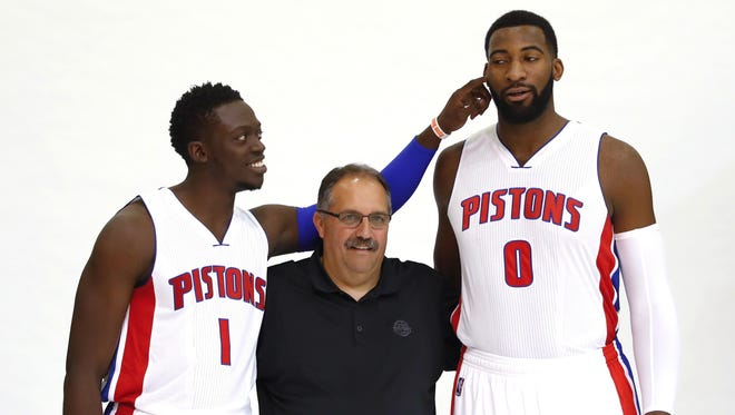 Coach Stan Van Gundy depends on Reggie Jackson, left, Andre Drummond and the Pistons' core players.