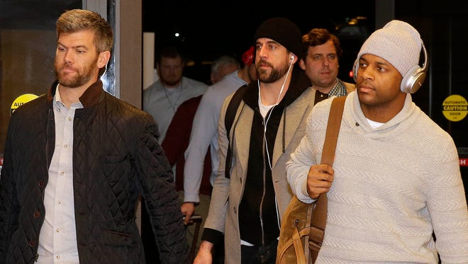 Mason Crosby (from left) Aaron Rodgers and Randall Cobb arrive with other members of the Packers at their team hotel in Atlanta in 2016.