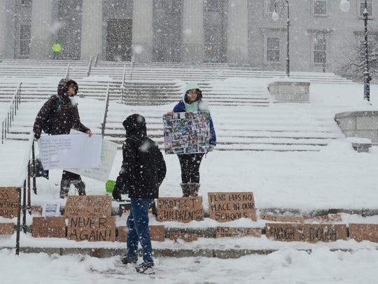 A handful of people gathered on the Statehouse lawn in Montpelier on Tuesday afternoon to protest gun violence as a crowd of sportsmen and gun-rights supporters held an event inside.