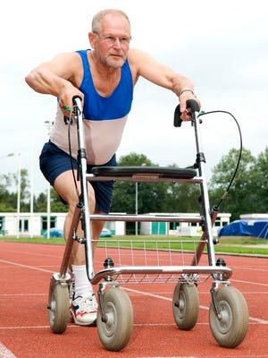 This active senior won't stop sporting, even now that he is using a walker! Caricature of health, sports, disability, ability, getting older, feeling young.