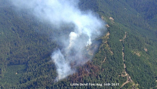 Little Devil Fire, burning on Devil's Ridge, on Aug. 16.