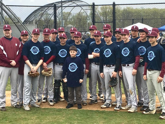 The Verona High School Varsity Baseball team traveled to North Brunswick recently to play South River for the 10th Annual Autism Awareness Baseball Challenge.