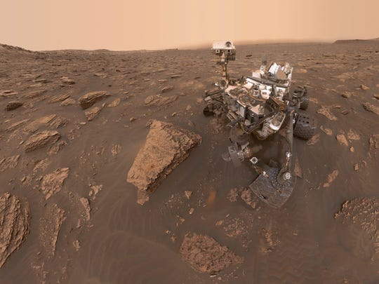 This composite image shows a self-portrait of NASA's Curiosity Mars rover in the Gale Crater.