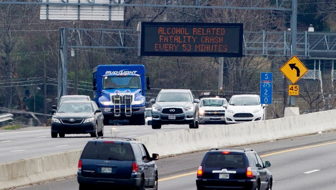 """A sign reading """"Alcohol Related Fatality Crash Every 53 Minutes"""" is seen Tuesday, Feb. 21, 2017, on southbound Interstate 275 at Heiskell Avenue in Knoxville.."""