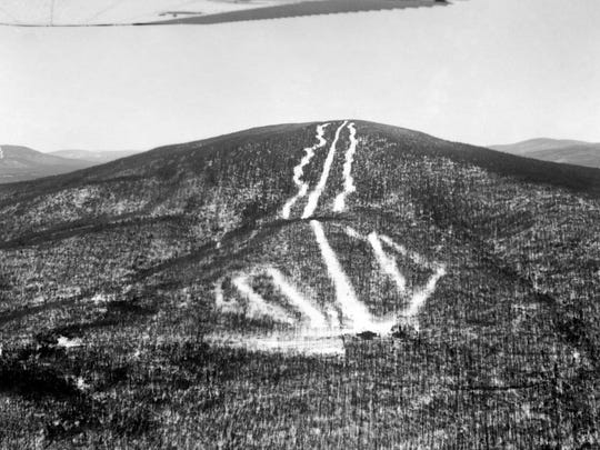 An early view of Stratton's ski trails.