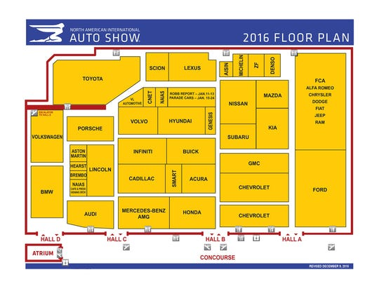 2016 North American International Auto Show floor plan