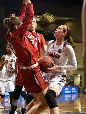Carson-Newman's Kayla Marosites takes a rebound back to the rim against Union in the NCAA Division II women's basketball tournament on March 19, 2018 at the Sanford Pentagon in Sioux Falls, S.D.