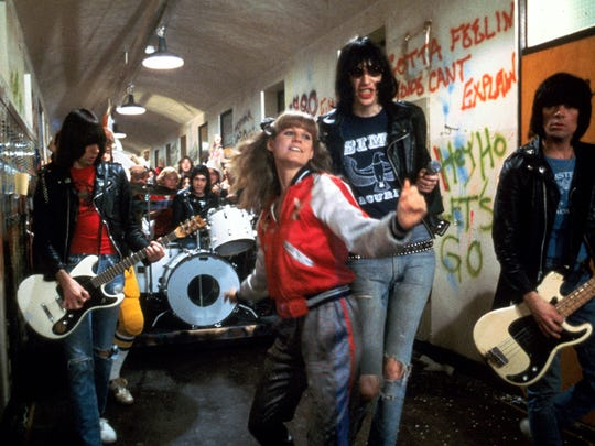 """P.J. Soles (center) cruises the halls of Vince Lombardi High with the legendary punk band the Ramones in the 1979 cult classic """"Rock 'n' Roll High School."""""""